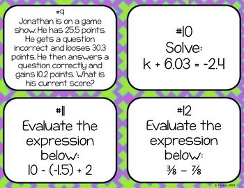 Adding and Subtracting Rational Numbers Task Cards