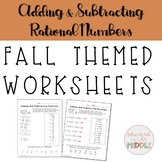 Adding and Subtracting Rational Numbers Worksheets &TPT di