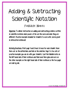 Adding and Subtracting Scientific Notation Foldable