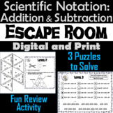 Adding and Subtracting Scientific Notation Game: Algebra Escape Room Math