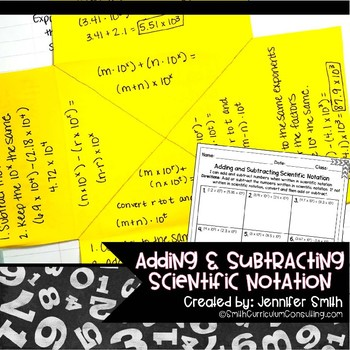Adding and Subtracting Scientific Notation Lesson for Interactive Notebooks