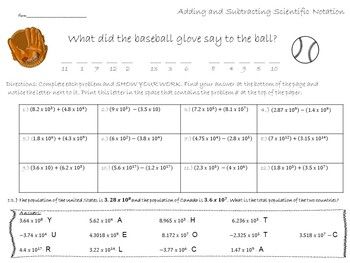 Adding and Subtracting Scientific Notation Worksheet Activity