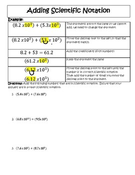 Adding And Subtracting Scientific Notation Worksheets