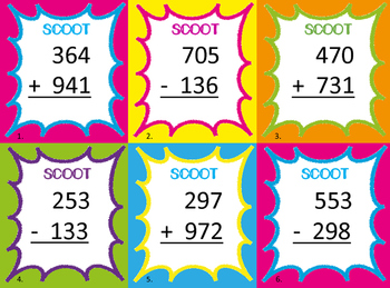 Adding and Subtracting Scoot Practice