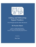 Adding and Subtracting Signed Numbers (HI Practice Sheets)