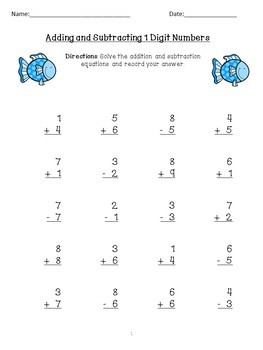 Single Digit Addition and Subtraction Mixed Review/End of Year Review