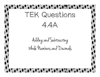 Adding and Subtracting - TEKs Questions