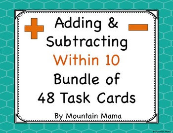 Adding and Subtracting Task Card Activities for Kindergart