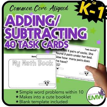Adding and Subtracting Task Cards – Makes a cute booklet (Common Core K.OA.2)