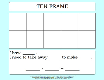Adding and Subtracting Ten Frames Activity Boards