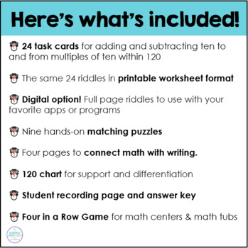 Adding and Subtracting Ten Snowman Riddles
