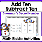 Adding and Subtracting Ten Winter Snowman Math Riddle Task Cards