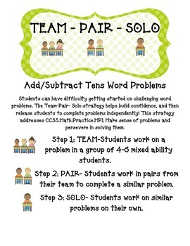 Adding and Subtracting Tens Word Problems - Team Pair Solo Activities