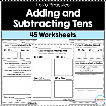 Adding and Subtracting Multiples of 10 - Worksheets