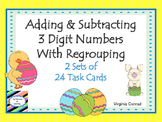 Adding and Subtracting Three Digit Numbers With Regrouping---Easter Theme