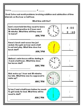 Adding and Subtracting Time