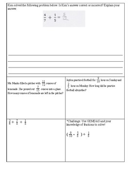 Adding and Subtracting UNLIKE Fractions Practice