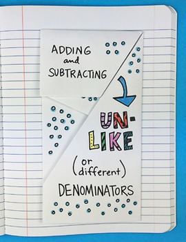 Doodle Notes - Adding and Subtracting Unlike Denominators Notebook Foldable