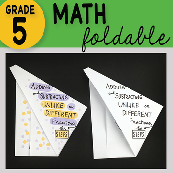 Adding and Subtracting Unlike Denominators - the steps - Math Foldable