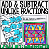 Add and Subtract Unlike Fractions with Negatives Activity Pack