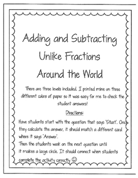 Adding and Subtracting Unlike Fractions Around the World - Leveled