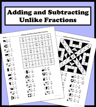 Adding and Subtracting Unlike Fractions Color Worksheet