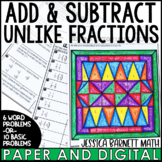 Add and Subtract Unlike Fractions Coloring Page