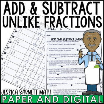 Add and Subtract Unlike Fractions Story Activity
