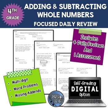Adding and Subtracting Whole Numbers - Focused Daily Review -  Bell Work