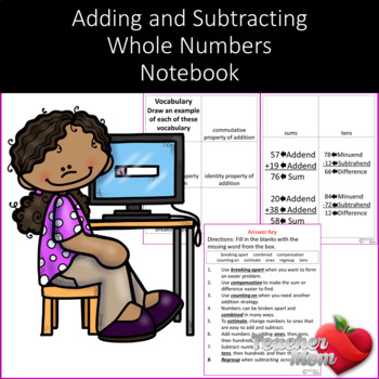 Adding and Subtracting Whole Numbers Notebook