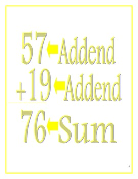 Adding and Subtracting Whole Numbers Packet