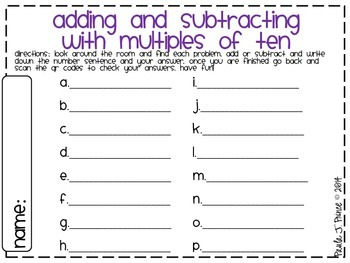Adding and Subtracting With Multiples of Ten {A QR Code Scavenger Hunt!}