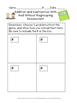 Adding and Subtracting With and Without Regrouping Task Cards & Game 2.NBT.5