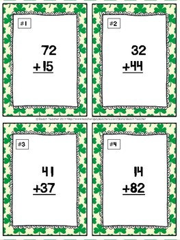Adding and Subtracting With and Without Regrouping Task Cards & Game (March)