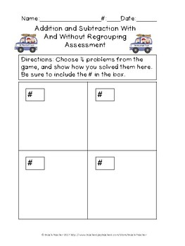 Adding and Subtracting With and Without Regrouping Task Cards & Game (WINTER)