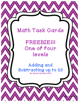 Adding and Subtracting Within 20 Task Card Freebie!