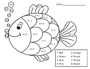 adding and subtracting within 5 math coloring page fish by kathleen haugland. Black Bedroom Furniture Sets. Home Design Ideas