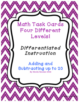 Adding and Subtracting Within Twenty 4 Different Levels!