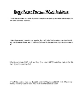 Adding and Subtracting Word Problems Harry Potter Themed