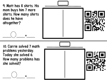 Adding and Subtracting Word Problems with QR Codes
