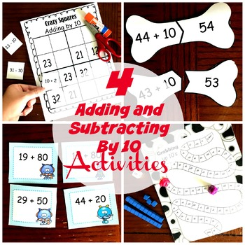 Adding and Subtracting by 10 - Three Activities for 1.NBT.C.5