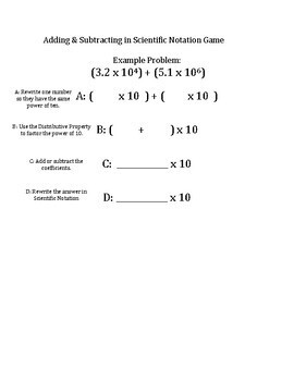 Adding and Subtracting in Scientific Notation Game (or Guided Notes)