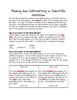 Adding and Subtracting in Scientific Notation Guided Notes