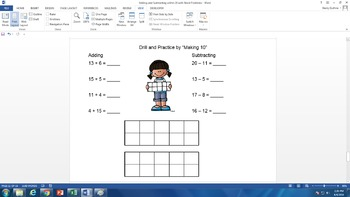 Adding and Subtracting to 20 with Word Problems
