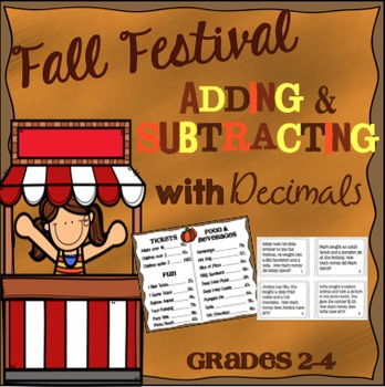 Adding and Subtracting with Decimals Math Menu & Task Cards Grades 2-4