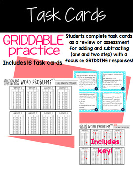 Adding and Subtracting with Griddable Practice! STAAR!
