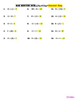Adding and Subtracting with Integers (reinforced through fluency Quizzes)