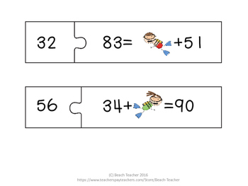 Adding and Subtracting with Unknowns Within 100 Matching Puzzles