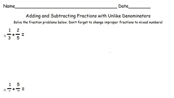 Adding and Subtracting with Unlike Denominators Worksheet