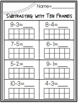 Adding and Subtracting with a Ten Frame Activity Pack for Kindergarten